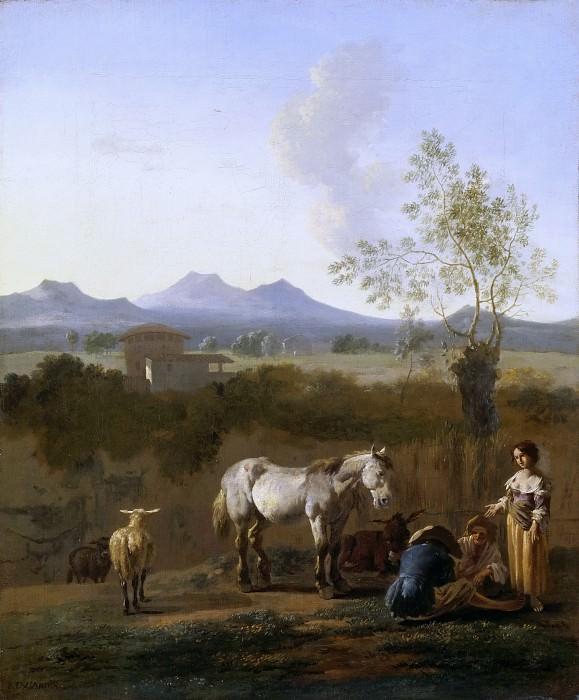 Karel Dujardin -- White horse in an Italian landscape. Part 3 Louvre