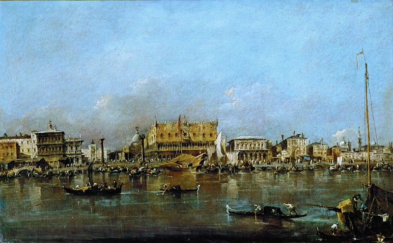 Francesco Guardi (1712-1793) -- Canal of San Marco with the Piazza San Marco in the Background. Part 3 Louvre