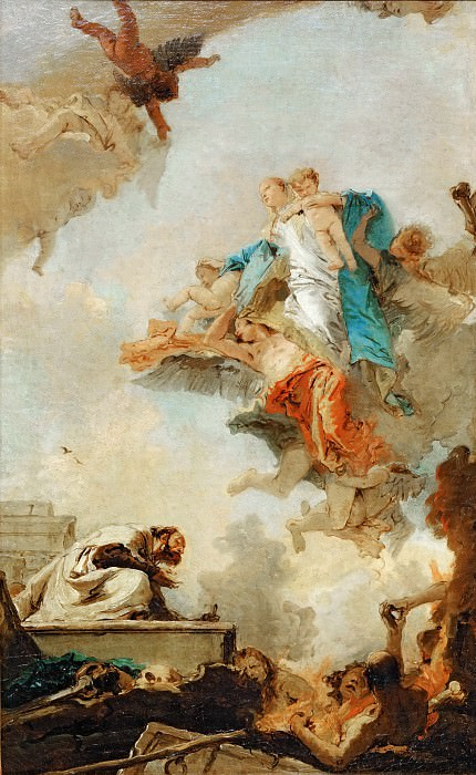 Tiepolo, Giovanni Battista -- La Vierge du Carmel apparaissant a Saint Simeon Stock. Lived in Kent as a hermit in a tree-trunk, hence the name. General of the Carmelite order 1265. Apparition of the Virgin 1251 (?). She gave him a scapula and promised, that every wearer would be assured of salvation. Canvas, 1720-22 RF 1983-44. Part 3 Louvre