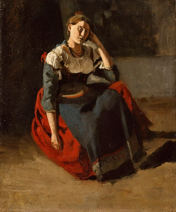 Jean-Baptiste-Camille Corot -- Italian woman seated, leaning on her knees. Part 3 Louvre