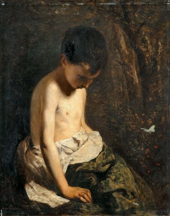 Constant Dutilleux -- Child with butterfly (portrait of J. Dutilleux, the artist's son). Part 3 Louvre