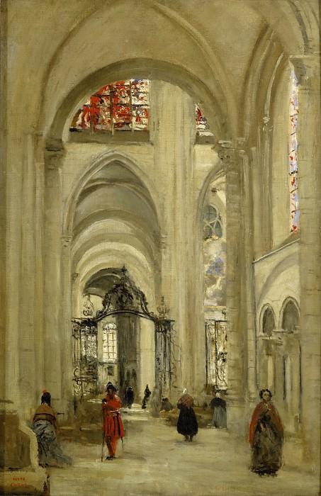 Corot, Jean-Baptiste Camille -- La cathedrale de Sens, vue de l'interieur, 1874 Canvas, 61 x 40 cm RF 22 25. Part 3 Louvre