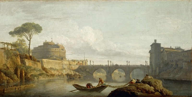 Claude-Joseph Vernet -- Bridge and Chateau Sant Angelo in Rome. Part 3 Louvre