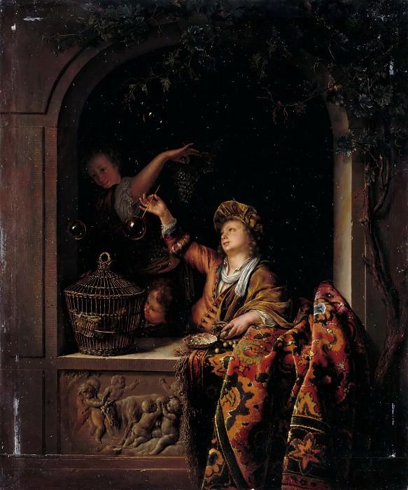 Willem van Mieris -- 'Les Bulles de savon'. Part 3 Louvre
