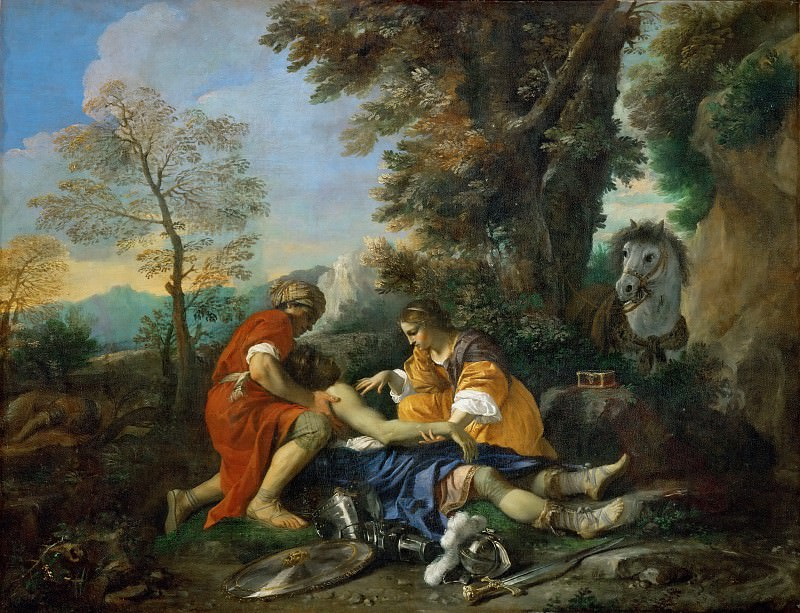 Pier Francesco Mola -- Hermione and Valfrino care for the wounded Tancred after the fight of Argante. Part 3 Louvre