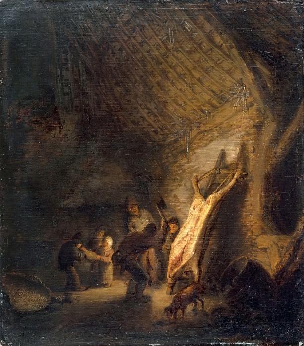 Adriaen van Ostade -- Evisceration of a hog. Part 3 Louvre