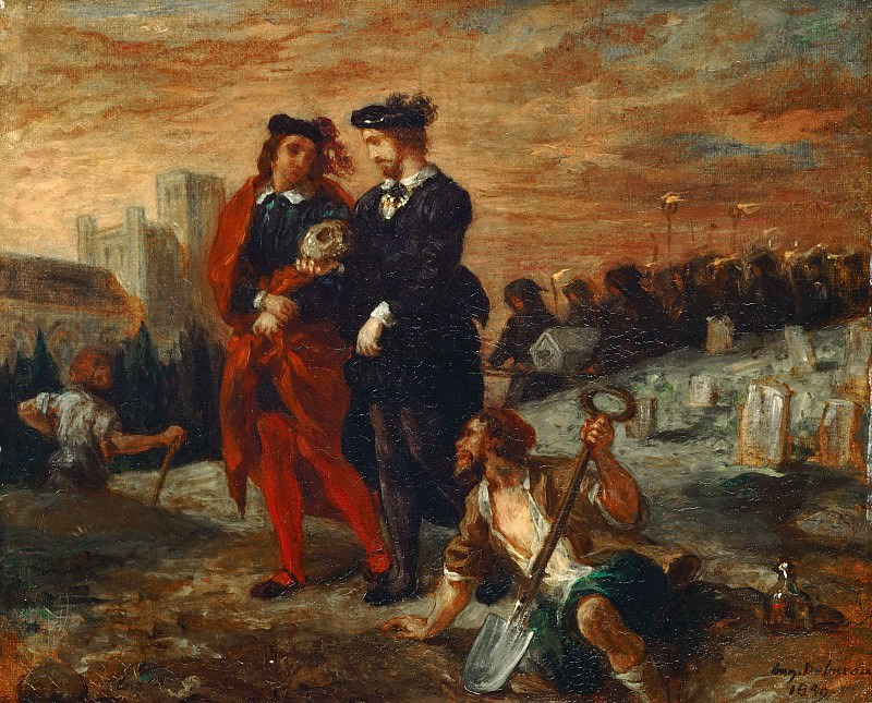 Eugène Delacroix -- Hamlet and Horatio at the cemetary. Part 3 Louvre