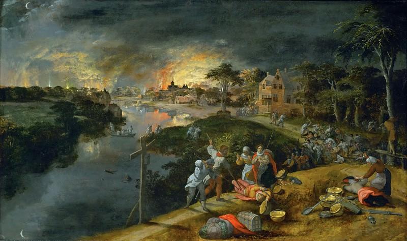Gillis Mostaert -- A scene of war and fire. Part 3 Louvre
