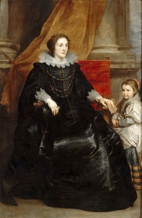 Anthony van Dyck -- Portrait of a lady of quality and her son. Part 3 Louvre