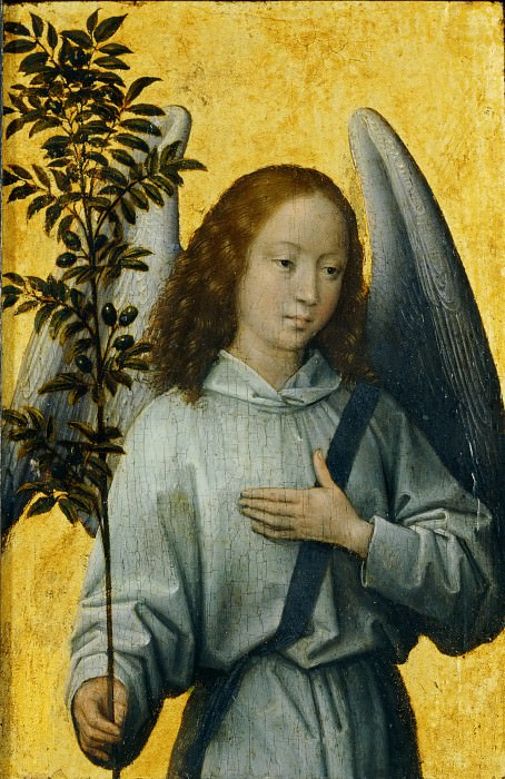 Hans Memling -- Angel Carrying and Olive Branch, Symbol of Divine Peace. Part 3 Louvre