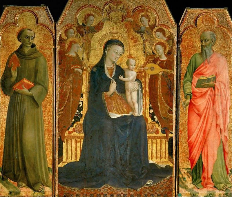 Sassetta (c. 1400-1450) -- Virgin and Child with Six Angels, and Saint Anthony of Padua (left) and John the Baptist (right). Part 3 Louvre