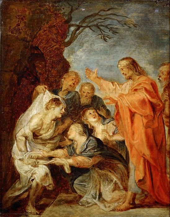 Rubens, Peter Paul -- Resurrection of Lazarus, sketch for the Berlin painting destroyed in 1945. Wood, 37 x 28 cm R.F.188. Part 3 Louvre