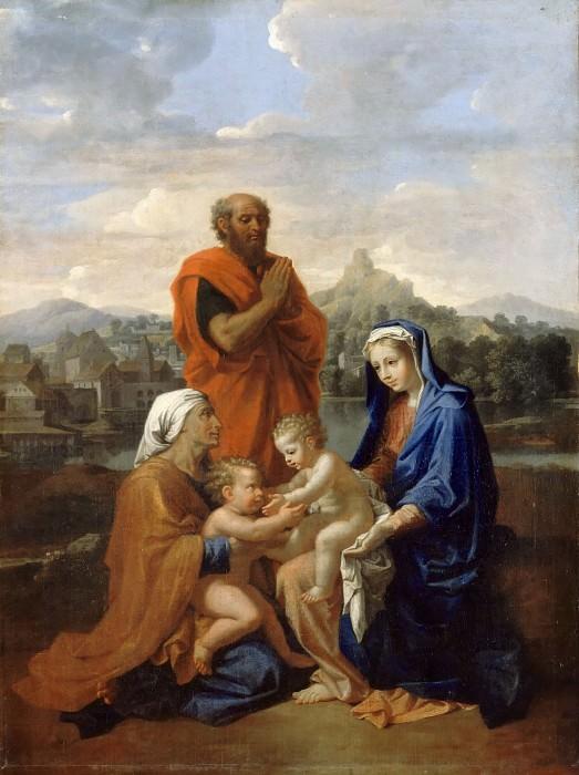 The Holy Family with Saint John, Saint Elizabeth, and St. Joseph, praying. Nicolas Poussin