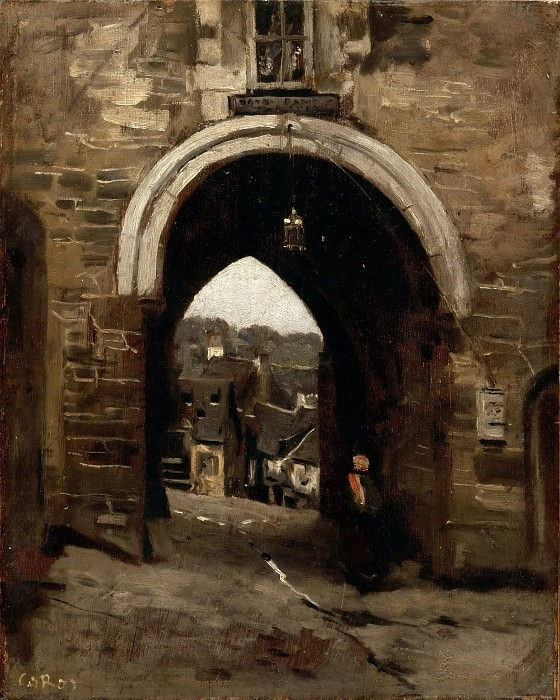 Jean-Baptiste-Camille Corot -- The Gate of Jerusalem at Dinan. Part 3 Louvre