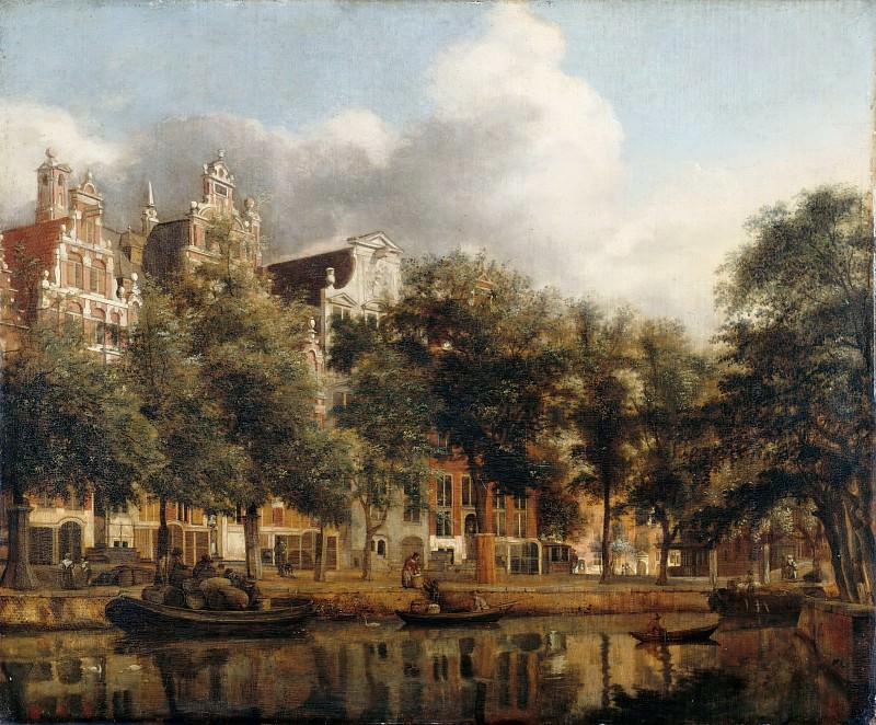 Jan van der Heyden, figures by Adriaen van de Velde -- View of the Heerengracht, Amsterdam. Part 3 Louvre