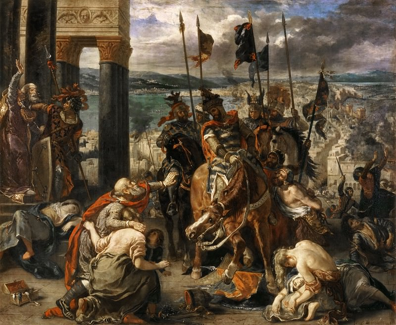 Eugène Delacroix -- Taking of Constantinople by the Crusaders (12 April 1204), also called 'Entry of the Crusaders into Constantinople'. Part 3 Louvre