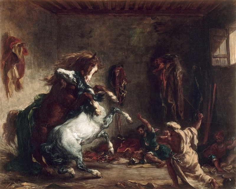 Eugène Delacroix -- Arab horses fighting in a stable. Part 3 Louvre