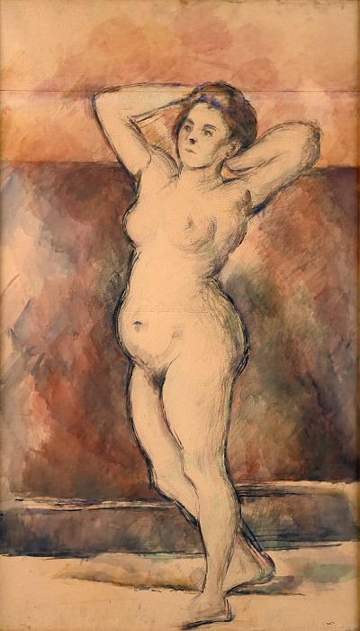 Paul Cézanne -- Standing Female Nude, Arms Raised. Part 3 Louvre