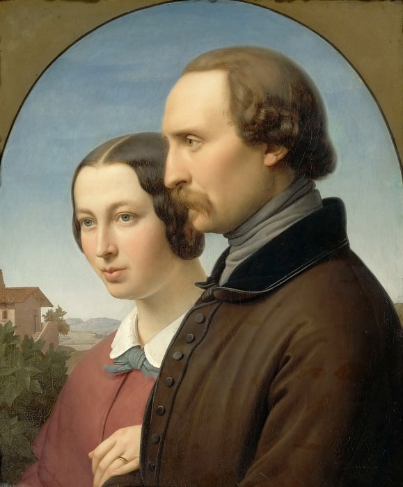 Franz Ittenbach -- Portrait of Ernst Deger and His Wife Augusta. Part 3 Louvre