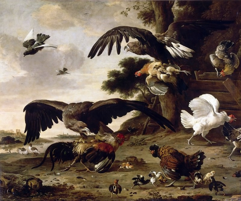 Melchior de Hondecoeter -- Eagles Attacking Chickens. Part 3 Louvre