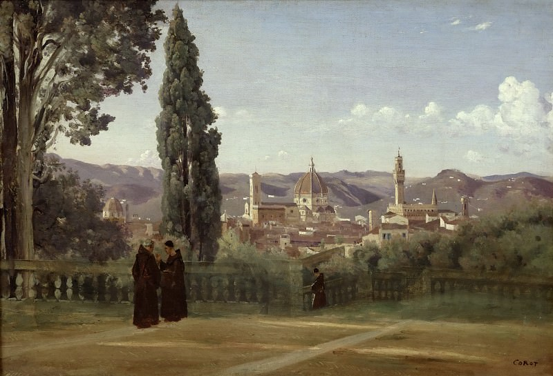 Jean-Baptiste-Camille Corot -- Florence. View from the Boboli Gardens.. Part 3 Louvre