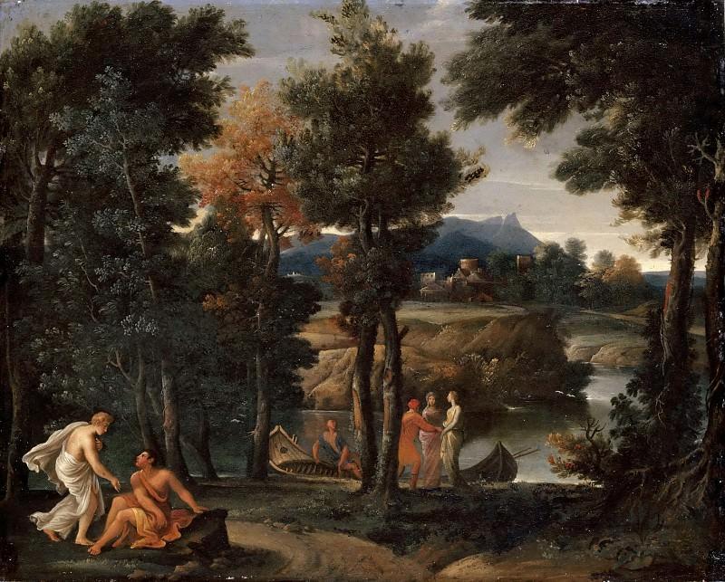 Giovanni Francesco Grimaldi -- Landscape with People in Antique Costumes near a River. Part 3 Louvre