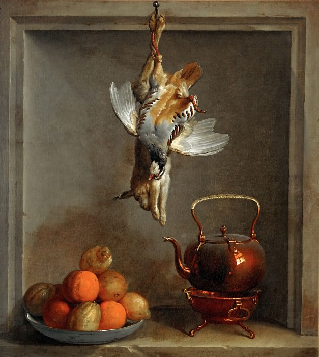 Jean-Baptiste Oudry -- Still life with fruit and game. Part 3 Louvre