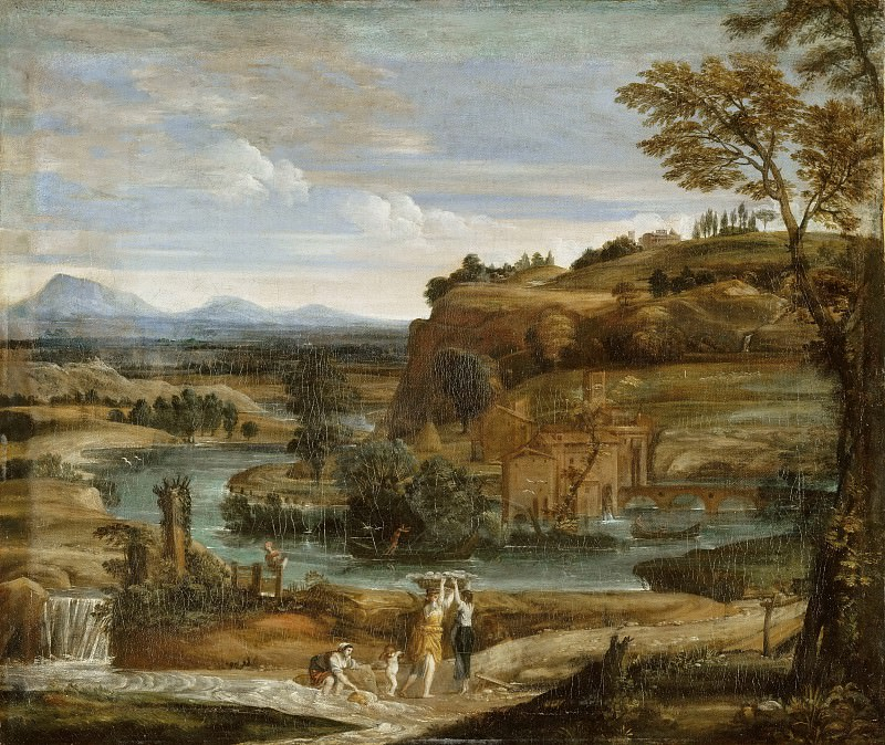 Domenichino -- Landscape with washerwomen and a child stunned with wine. Part 3 Louvre