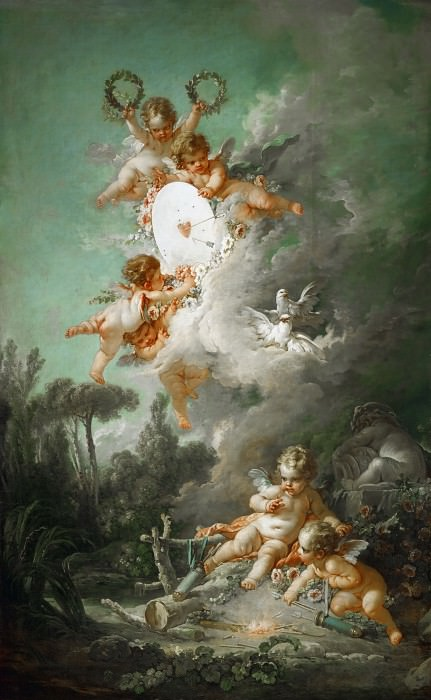 Boucher, Francois -- La cible d'amour-The target of love, 1758. Canvas, 268 x 167 cm INV.2715. Part 3 Louvre