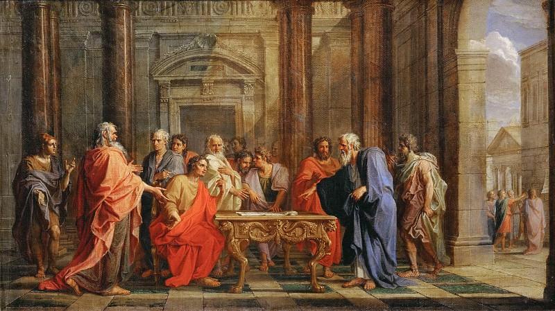Noël Coypel -- Solon upholds his laws against the objections of the Athenians. Part 3 Louvre