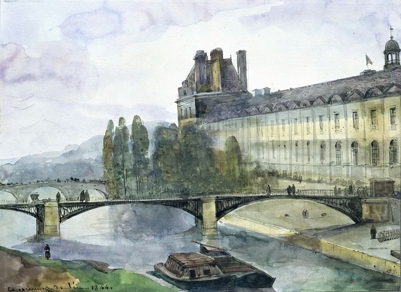 Гране, Франсуа-Мариус (Экс-ан-Прованс 1775-1849) -- Вид на луврский павильон Флоры. Part 3 Louvre