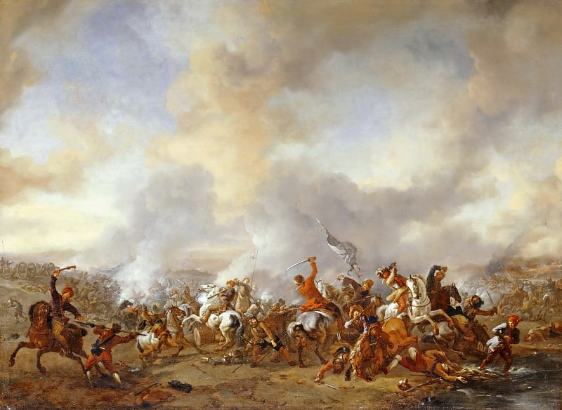 Philips Wouwerman -- Grand Combat of the Cavaliers. Part 3 Louvre