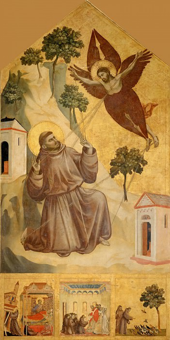 Giotto -- Saint Francis of Assisi Receiving the Stigmata. Part 3 Louvre