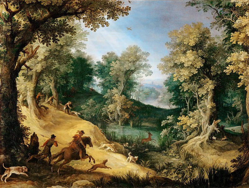Paul Bril (1554-1626) -- Stag Hunt. Part 3 Louvre