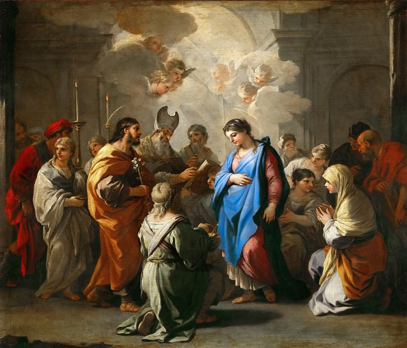 Luca Giordano -- The Wedding of Saint Mary (Marriage of the Virgin). Part 3 Louvre