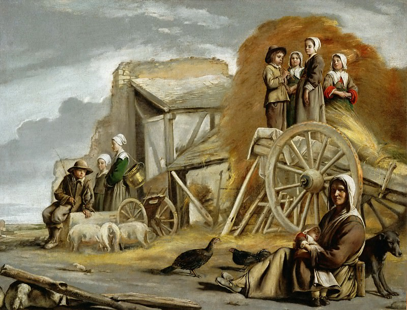 Antoine Le Nain (c. 1588-1648), Louis Le Nain (c. 1593-1648) or Mathieu Le Nain (1607-1677) -- The Haycart. Part 3 Louvre