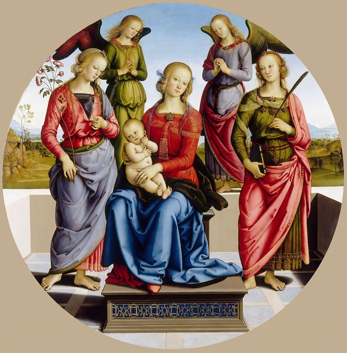 Attributed to Perugino -- Virgin and Child accompanied by two angels, Saint Rose and Saint Catherine of Alexandria. Part 3 Louvre