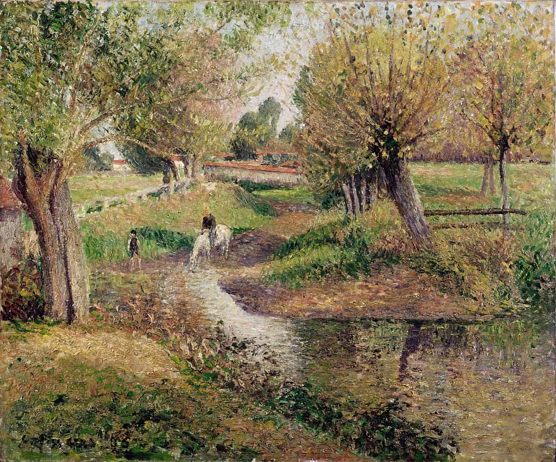 Camille Pissarro -- Watering hole, Éragny. Part 3 Louvre