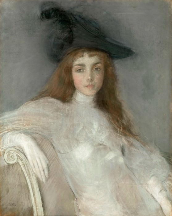 Paul César Helleu -- Portrait of a Young Girl in a Black Hat. Part 3 Louvre