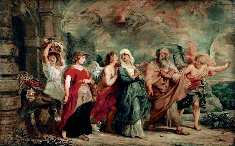 Peter Paul Rubens -- Lot and His Family Leaving Sodom. Part 3 Louvre