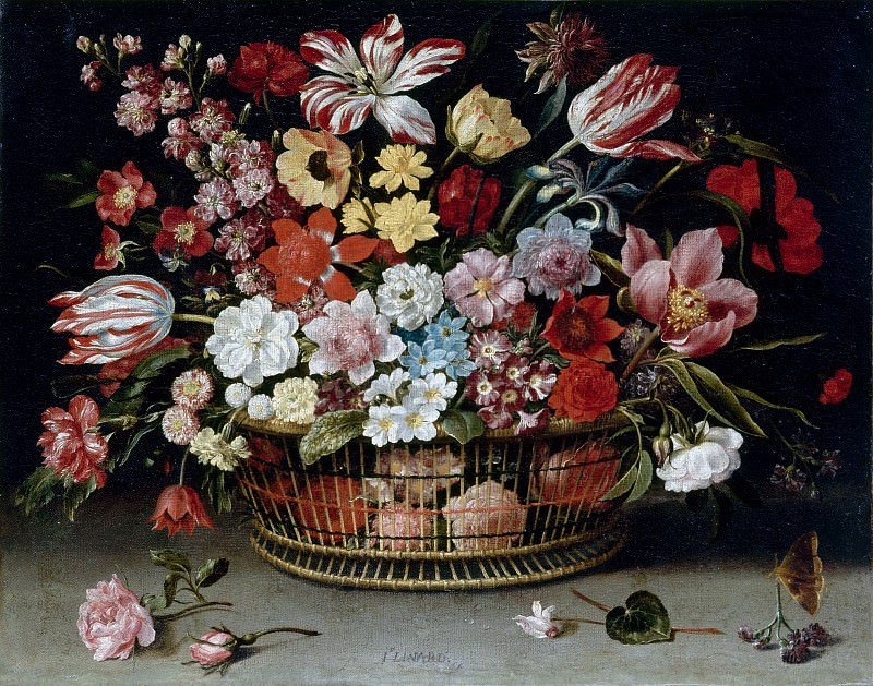 Jacques Linard -- Basket of flowers. Part 3 Louvre