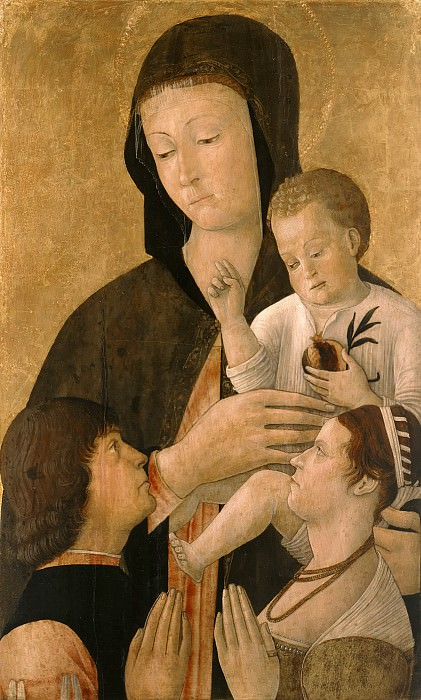 Gentile Bellini (1429-1507) - Madonna and Child with Donors pair. Part 2