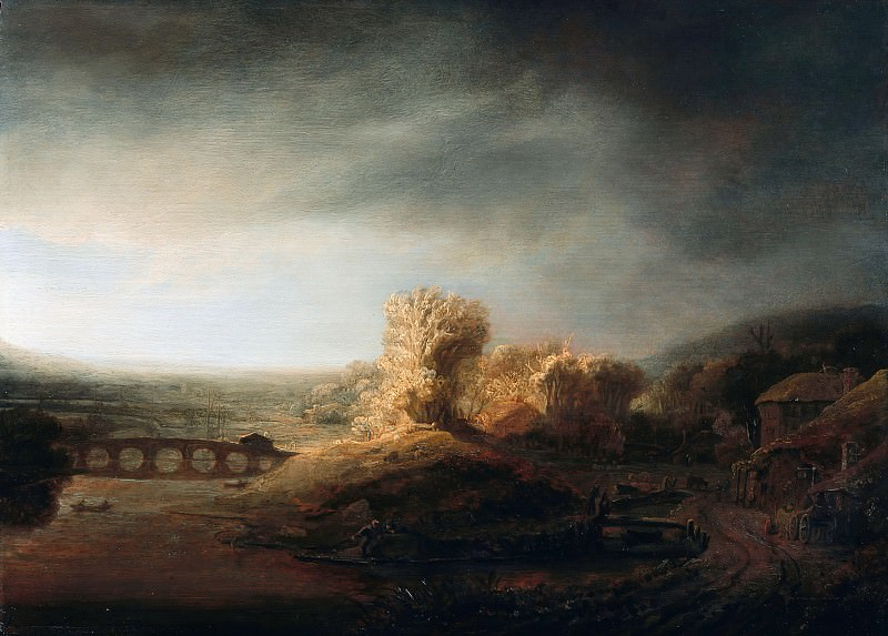 Govaert Flinck (1615-1660) - Landscape with a arch bridge. Part 2
