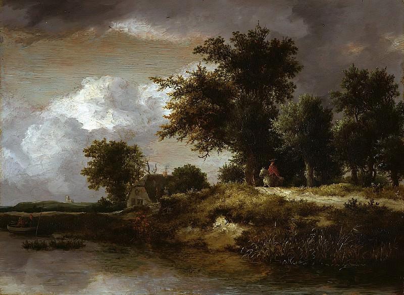 Jacob van Ruisdael (1628-29-1682) - Forested river bank. Part 2
