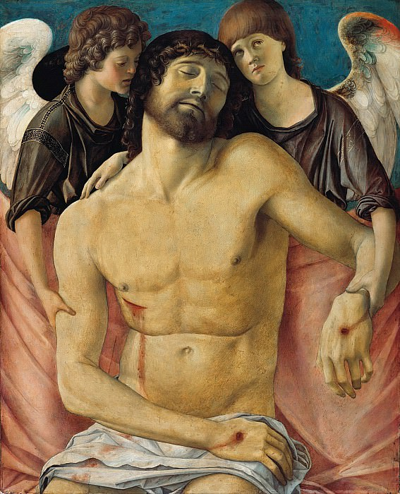 The dead Christ, two mourning angels supported. Giovanni Bellini