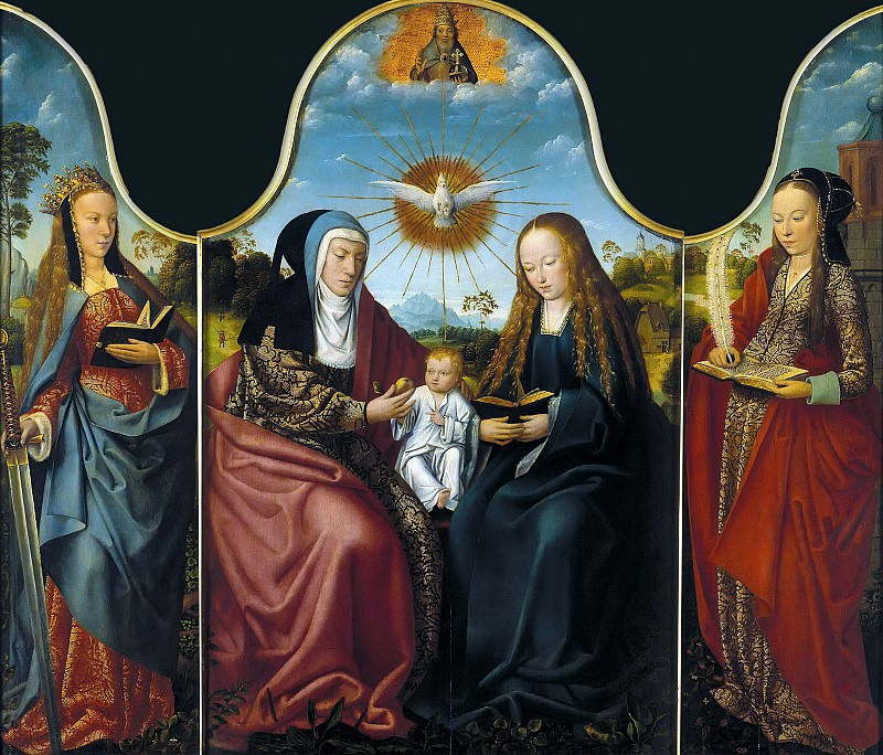 Master of Frankfurt (c.1460-c.1533) - Triptych - Virgin and Child with Saint Anne. Part 2