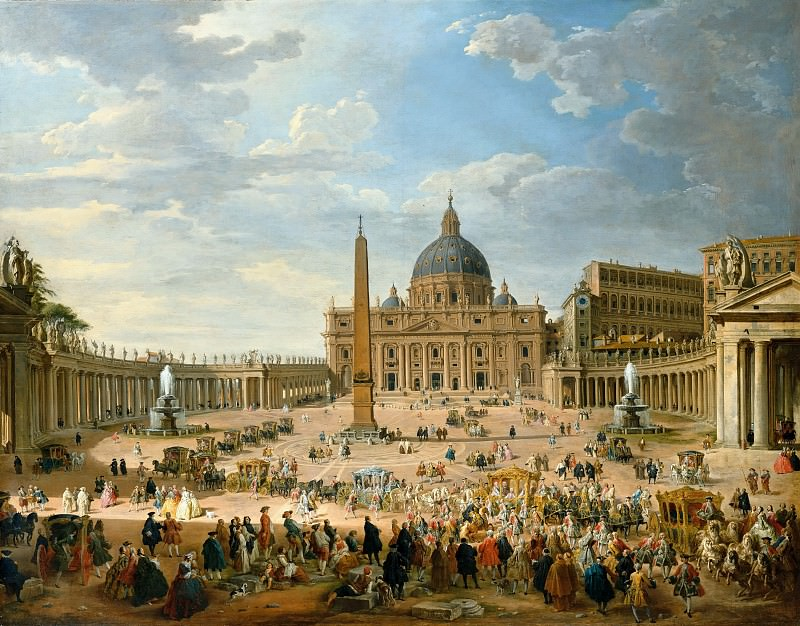 Giovanni Paolo Pannini (1691-1765) - The exit of the Duc de Choiseul in Saint Peters Square in Rome. Part 2