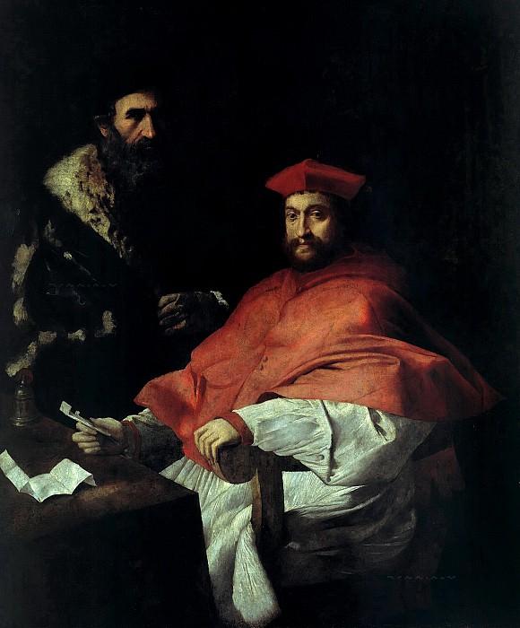 Girolamo da Carpi (1501-1556) - Portrait of Cardinal Giovanni Salviati (1490-1553) with his secretary. Part 2
