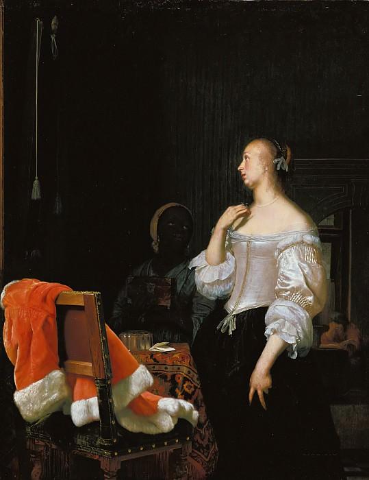 Frans van Mieris I (1635-1681) - Young lady at the mirror. Part 2