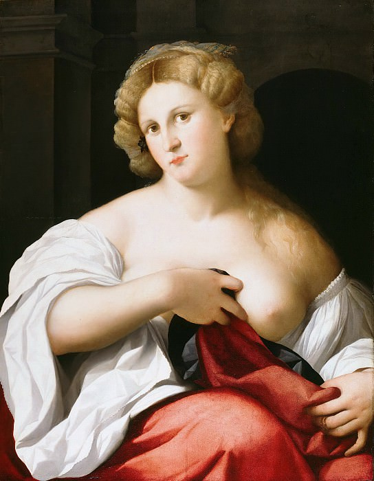 Jacopo Palma (c.1480-1528) - Portrait of a young woman with breast uncovered. Part 2